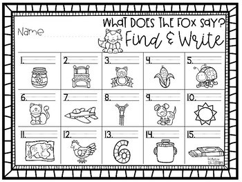 What Does the Fox Say?  {CVC Word Board Game and Find and Write Activity}