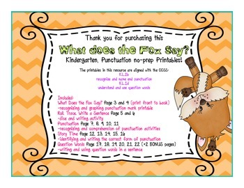 What Does the Fox Say? {Kindergarten Punctuation}
