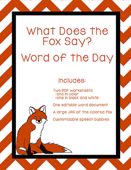 What Does the Fox Say? Word of the Day