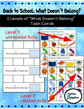 What Doesn't Belong? Interactive Back to School Task Cards