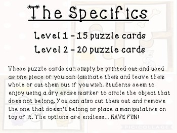 What Doesn't Belong Puzzle Cards - Beginner & Advanced