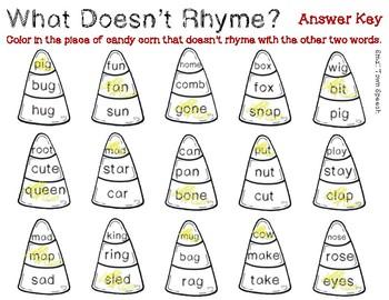 What Doesn't Belong? Rhyming Words- Fall Speech & Language Activity