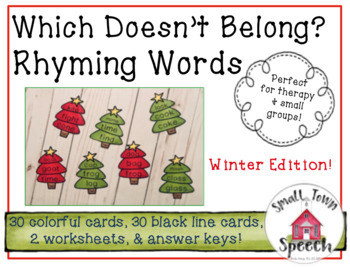 What Doesn't Belong? Rhyming Words- Winter Speech & Language Activity