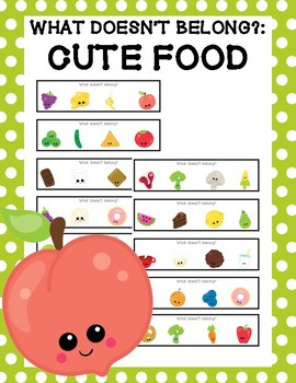 What Doesn't Belong? Strip Clip Cards: Cute Food