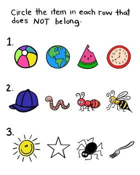FREE What Doesn't Belong Worksheet - No Prep {KT Creates Original}