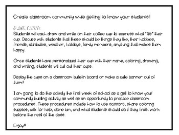 What Fills Your Cup? - Back to School Activity