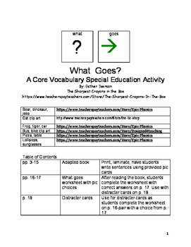What Goes Core Vocabulary SPED activity