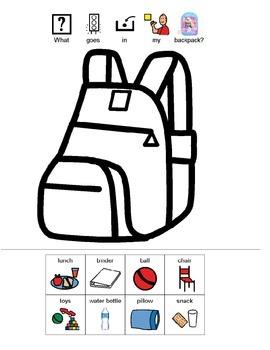 What Goes In My Backpack Visual Worksheet