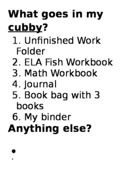 What Goes In My Cubby?