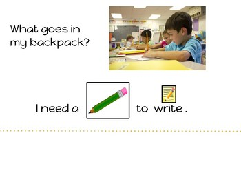 What Goes in My Backpack? Adapted Comprehension Book