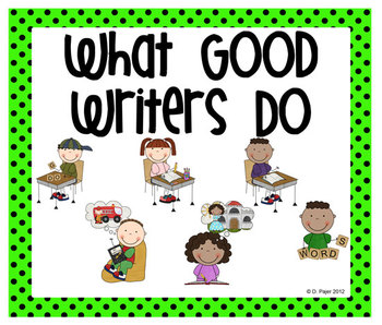 Stick Figure What Good Writers Do Posters: Bright Green with Black Polka Dots