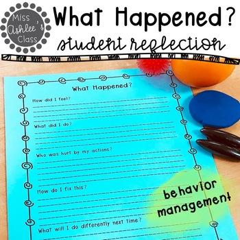 What Happened? | Behavior Response Worksheet | Behavior Management