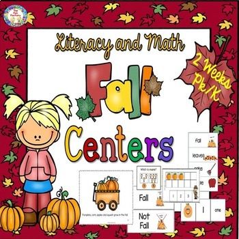 Fall  Math and Literacy Centers PK and K  2 Weeks