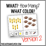 What? How Many? What Color? Adapted Book for Children with Autism VERSION 2