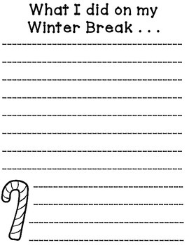What I Did Over Winter Break Written Response Activity