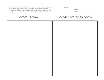 What I Know/What I Want to Know - LEGO Robotics