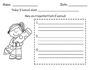 """What I Learned"" Graphic Organizer"