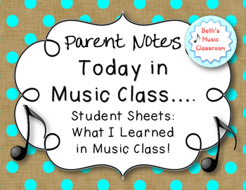 Today in Music! Parent Note, 100 FOLLOWER FREEBIE!
