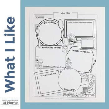 What I Like - About Me Worksheet