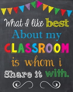 What I Like Best About My Classroom Inspiration Chalkboard Art Sign Decor Poster
