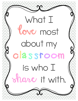 What I Love About My Classroom Poster freebie
