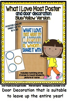 What I Love Most About My Classroom BLUE & YELLOW Door Decoration