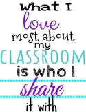 What I Love Most About My Classroom Poster