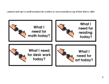 What I Need for My Work Today?  (An Executive Functioning Skill)