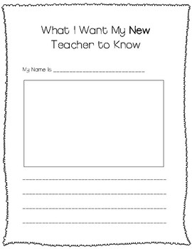 What I Want My New Teacher to Know Writing