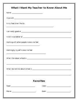 What I Want My Teacher to Know About Me