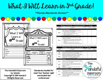 What I Will Learn in 3rd Grade - Back to School Florida Standards Checklist