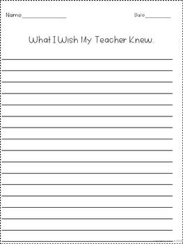 What I Wish My Teacher Knew writing prompt
