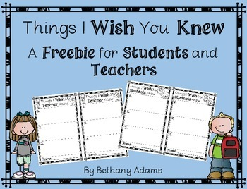What I Wish You Knew **Freebie**