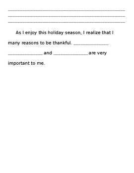 What I am Thankful For Writing Paper