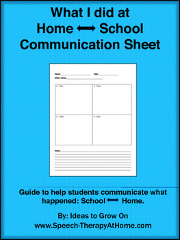 What I did at Home /  School communication sheet