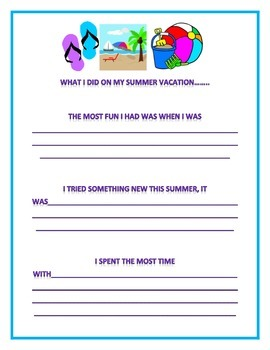 What I did on my summer vacation.....