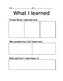 What I learned Reflection Worksheet