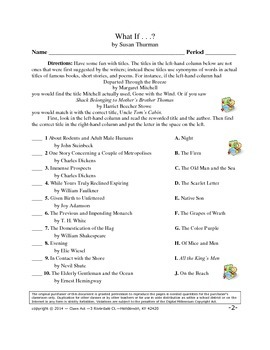 Vocabulary Activities: Titles of Famous Books, Short Stories, & Poems (5 pages)