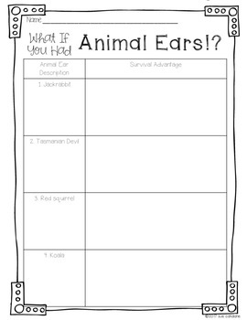 What If You Had Animal Ears!? Addresses NGSS 3-LS4-2 Animal Adaptations