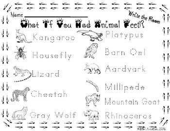 What If You Had Animal Feet?! Write the Room Activity