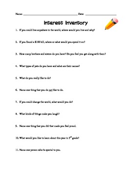 What Interests You? An Interest Inventory