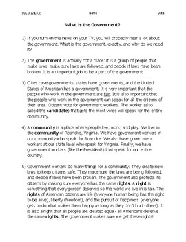 What Is Government? Passage with Test Prep Questions VA SOL 3.12