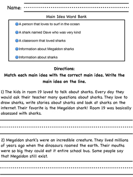 What Is The Main Idea? Matching the main idea with the correct passage