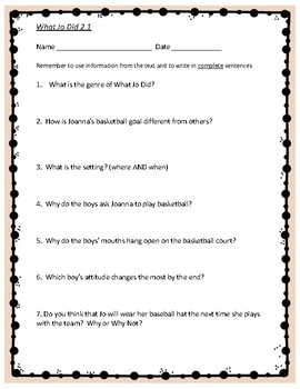 What Jo Did - 4th Grade Reading Street