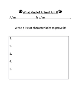What Kind of Animal Am I?