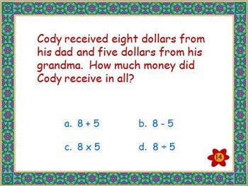 Math Word Problems, Determining Correct Operation