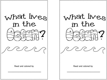 What Lives in the Ocean?  pocket chart and emergent reader