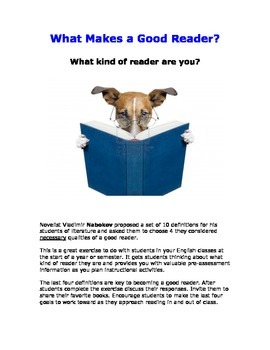 What Makes a Good Reader Questionnaire