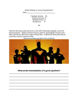 What Makes a Good Super Hero?  Paragraph Writing