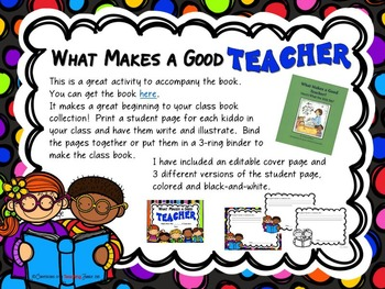 What Makes a Good Teacher - A Back-to-School Writing Prompt and Class Book Idea
